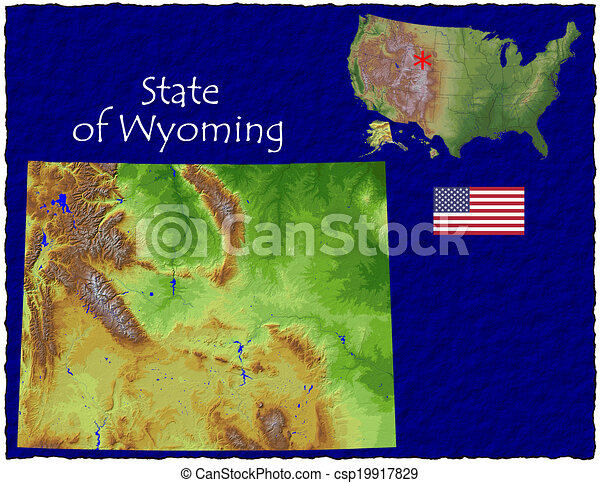 Wyoming USA state hi res aerial  - csp19917829
