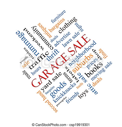 Garage Sale Word Cloud Concept Angled