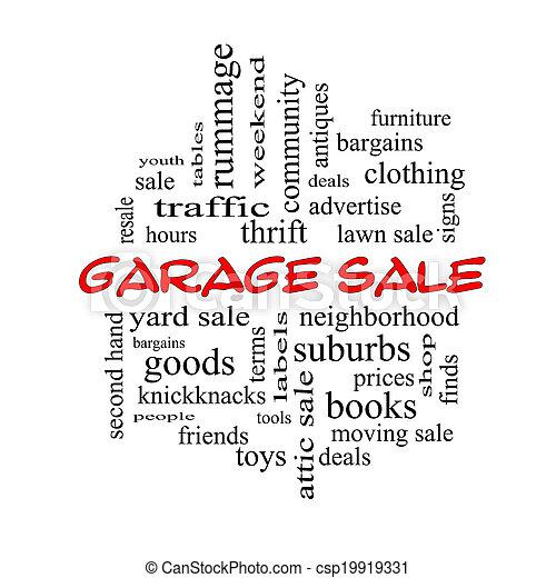 Garage Sale Word Cloud Concept in red caps
