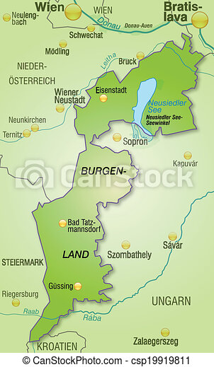 Vector map of burgenland stock illustration royalty free