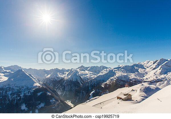 Ski resort Bad Gastein in winter snowy mountains, Austria, Land Salzburg, Austrian alps - nature and sport background