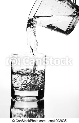 Water jug pouring into glass - csp1992635