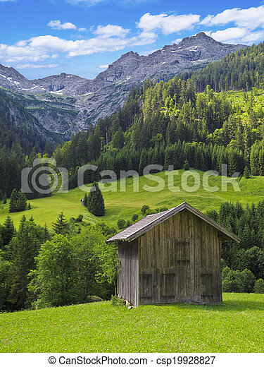 hut in the mountains - csp19928827