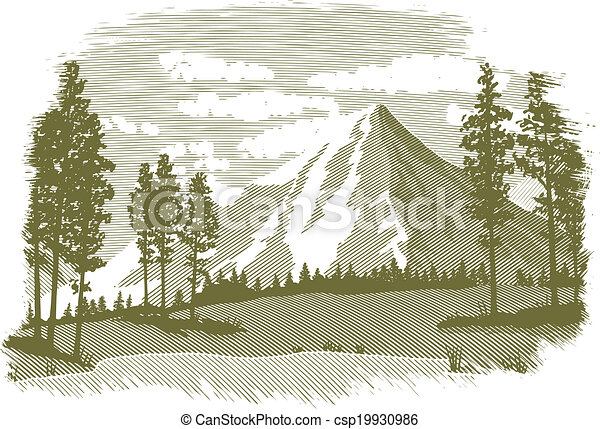 Woodcut Mountain Lake Scene - csp19930986