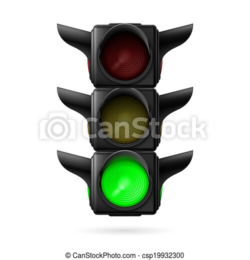 Traffic light with green lamp - csp19932300