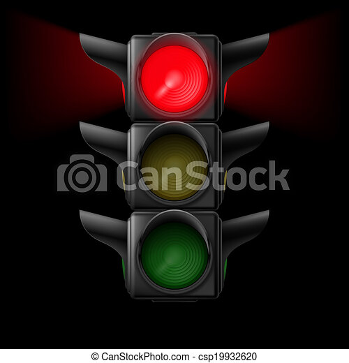 Traffic light with red on - csp19932620