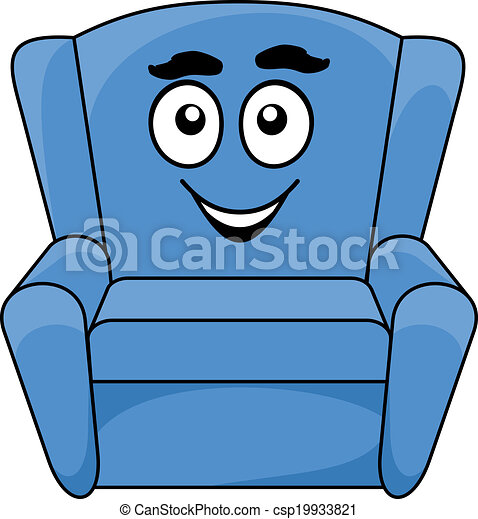 Vector Illustration Of Comfortable Upholstered Blue