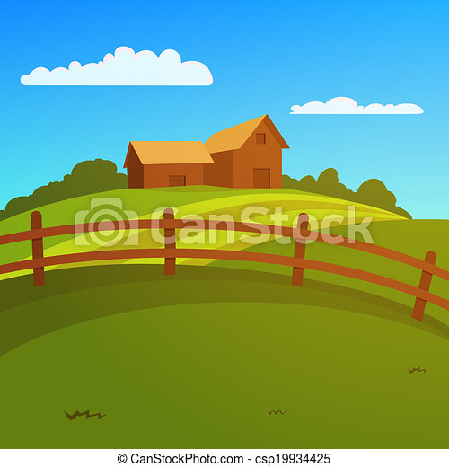 Farm Fence Clipart clipart vector of landscape with farm and fence - vector