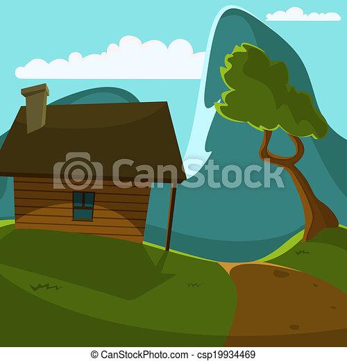 Clip art de vectores de montaña, cabaña   caricatura, ilustración ...