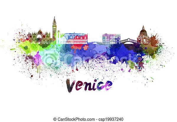 Venice skyline in watercolor - csp19937240