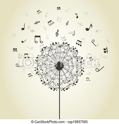 Vecteurs eps de musique pissenlit musical notes - Dessin fleur pissenlit ...