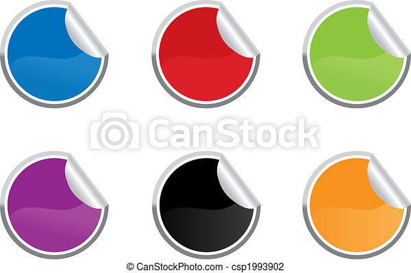 Six colored vector sticky label for price or another design. - csp1993902