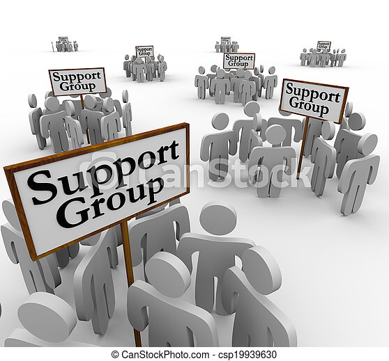 Support Group signs with people or patients gathered around them to share personal experience and stories with communication about problems, addiction or trauma - csp19939630