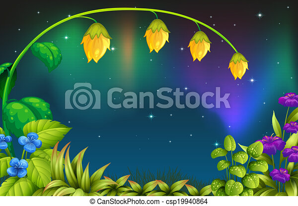 A garden with green plants and fresh flowers - csp19940864