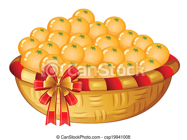 Basket of Oranges Clip Art