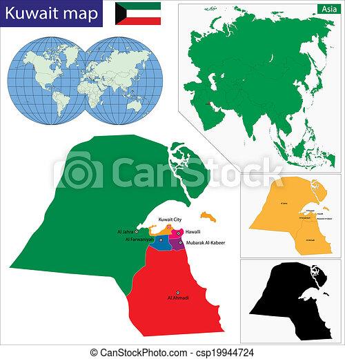 Kuwait Map Vector Kuwait Map Csp19944724