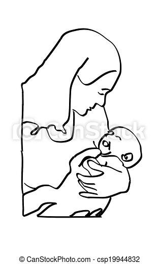 Black on White Mother Infant Sketch - csp19944832