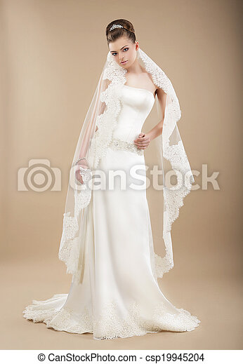 Sophistication. Perfect Bride in Wedding Dress and Veil - csp19945204