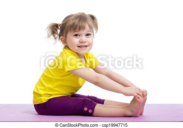 child girl doing fitness exercises - csp19947715