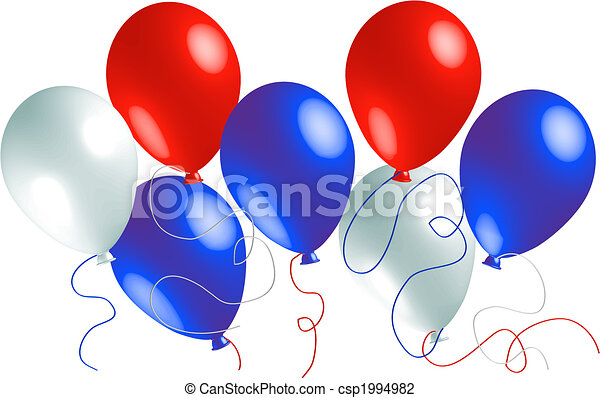 Red, White and Blue Balloons - csp1994982