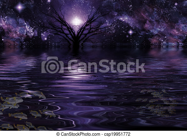 Deep Purple Fantasy Landscape - csp19951772