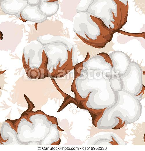 Vecteur coton bourgeons branche seamless mod le - Branche de coton ...