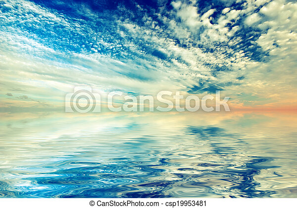Sunset sky with beautiful clouds. Vitnage style - csp19953481