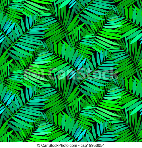 Seamless pattern with tropical palm leaves - csp19958054