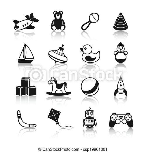 clipart vecteur de jouets noir ic nes ensemble noir et blanc gosse csp19961801. Black Bedroom Furniture Sets. Home Design Ideas