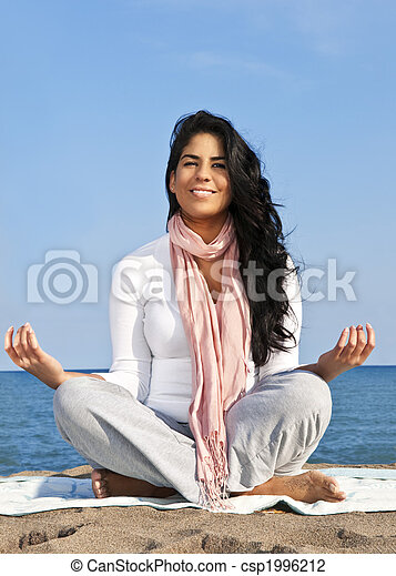 Young native american woman meditating - csp1996212