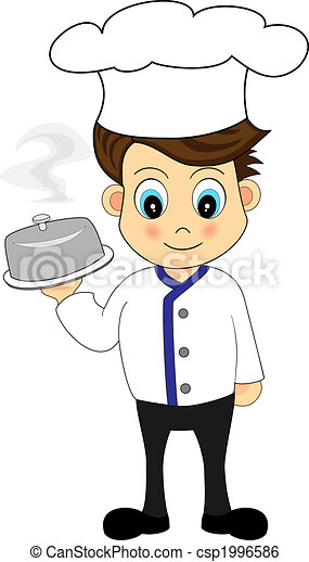 Cute Chef presenting a meal - csp1996586
