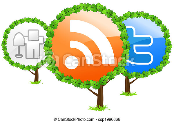 Social media trees icon - csp1996866