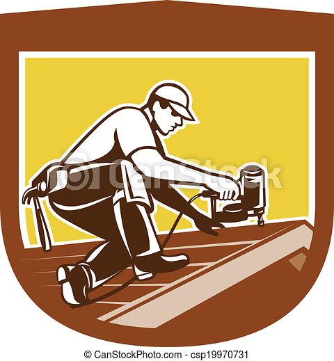 Roofer Vector Vector - roofer roofing worker crest shield retroRoofer Vector