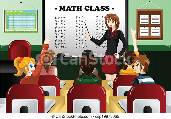 Clip Art Vector of Kids studying math in the classroom - A ...