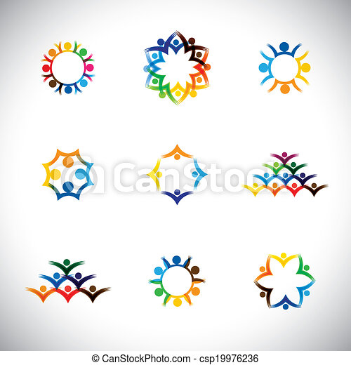 colorful people, children, employees icons collection set - vector graphic. This illustration also represents love, unity, solidarity, alliance, union, teamwork, organization, together, group - csp19976236