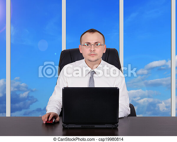 homem negócios, escritório - csp19980814