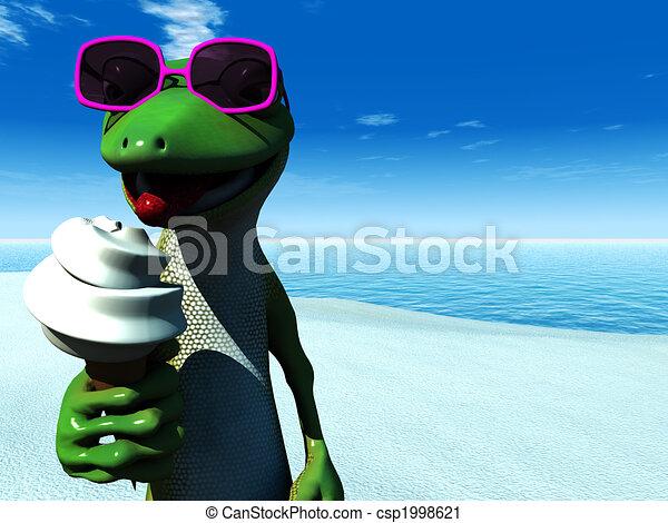 Cool cartoon gecko eating ice cream on the beach. - csp1998621