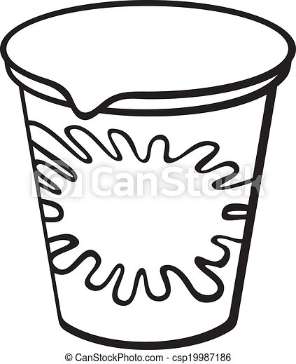 Yogurt clipart black and white  Pencil and in color
