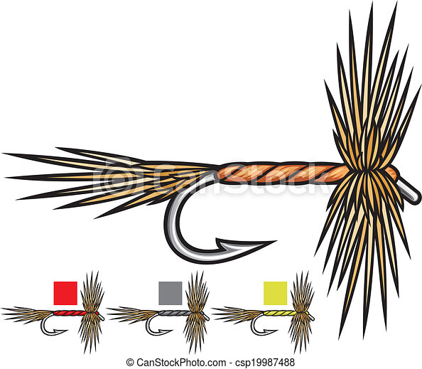 Vector of fly fishing flies, fishing fly, fly fishing lure ...