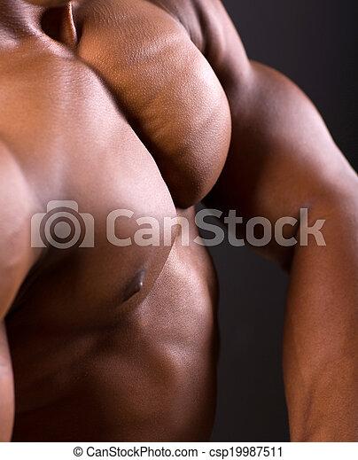 african muscular man body closeup