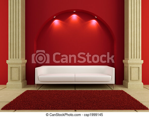 3d interiors - White couch in red room - csp1999145