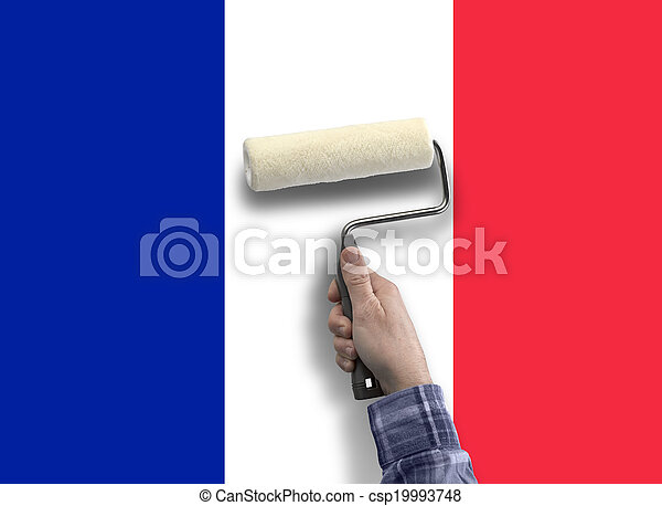 human hand with painting the flag from French - csp19993748