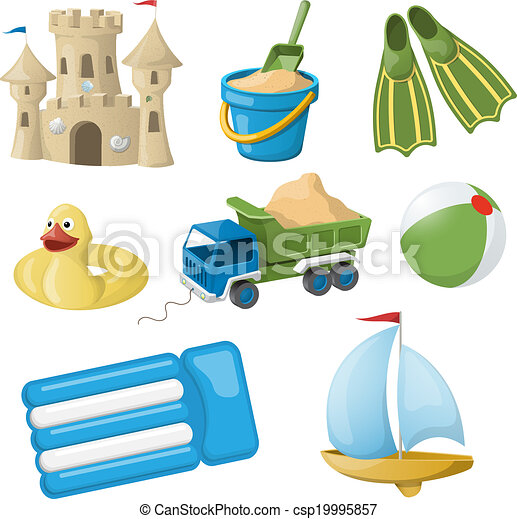 Set of colorful vintage christmas toys for kids. Vector illustration - csp19995857