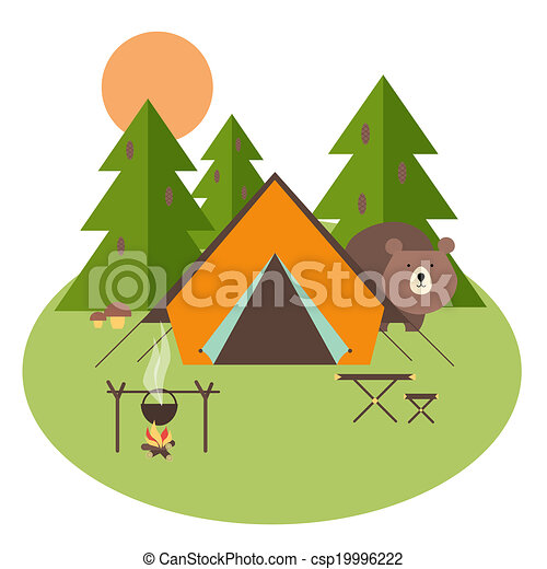 Vector Illustration of Forest Camping