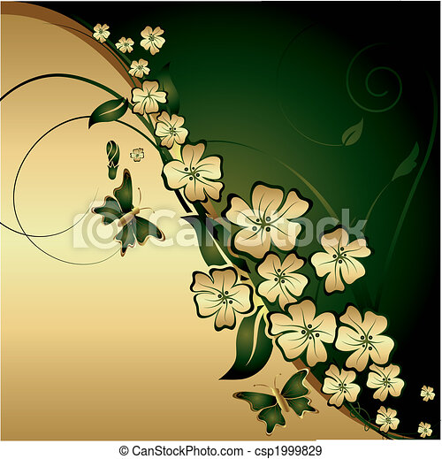 Gold flowers and butterflies - csp1999829
