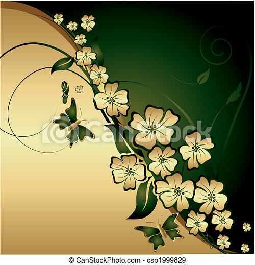 Gold flowers and butterflies - csp1999829