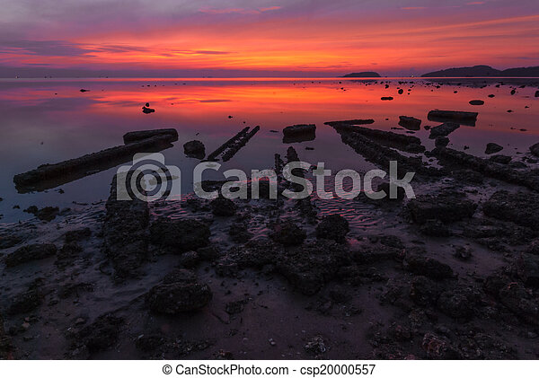 Tropical beach at beautiful sunset. Nature background - csp20000557