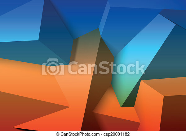 Abstract background with overlapping blue and orange cubes - csp20001182