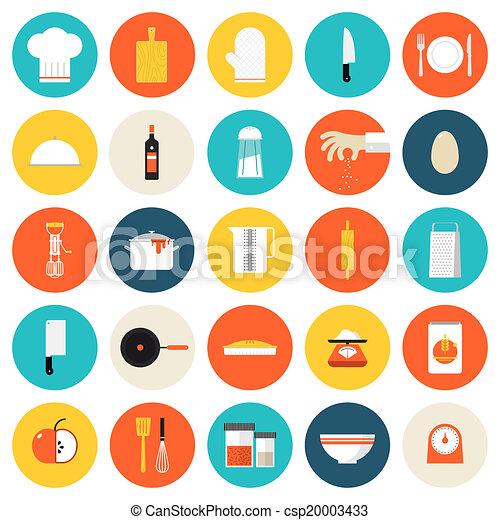Vectores de plano iconos cocina utensilios for Utensilios de cocina logo