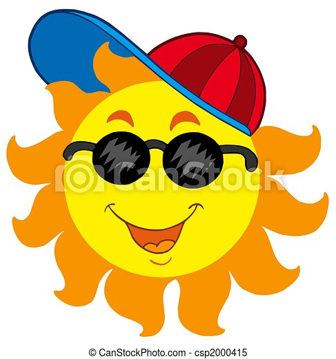 caricatura, sol, beisball, gorra - csp2000415